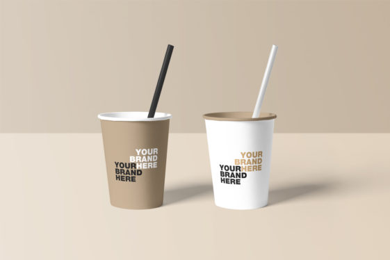 Paper Cup Mockup With Straw Pipe