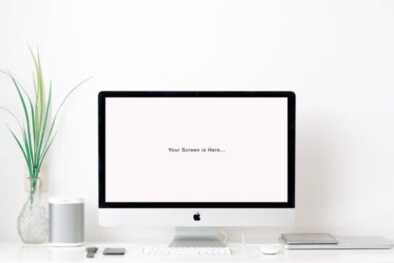 White Desktop iMac Mockup Free PSD