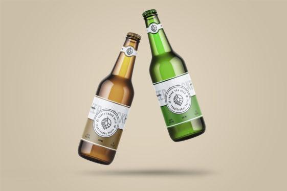 Levitating Beer Bottle Mockup