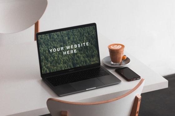 MacBook on Table Mockup