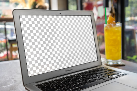 Macbook Air In Hipster Coffee Shop